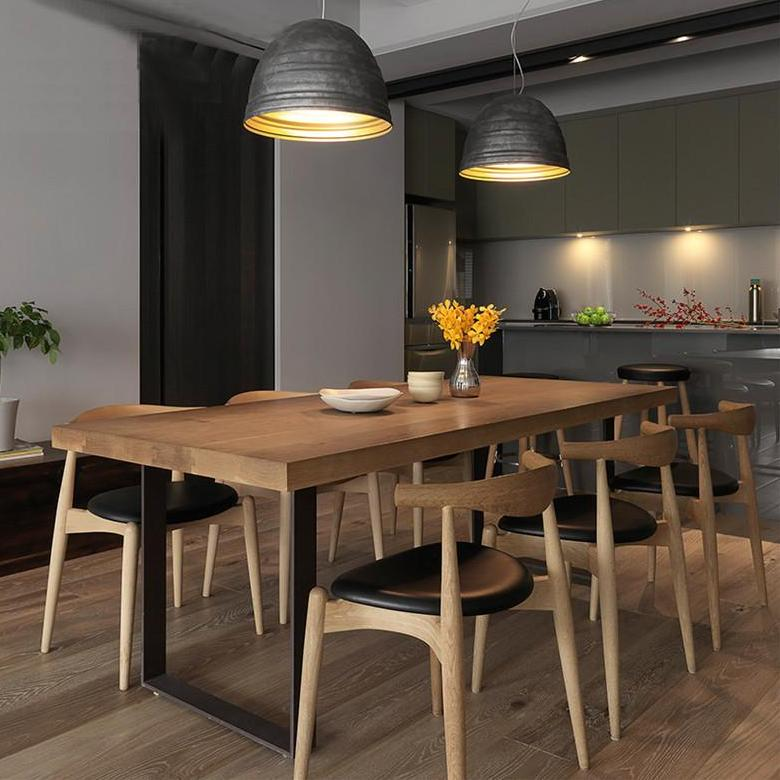 JSGJ Dining Table and Chairs Solid Wood Natural Wood Colour classy condo apartment flat (JinShaGongJue 金沙公爵)