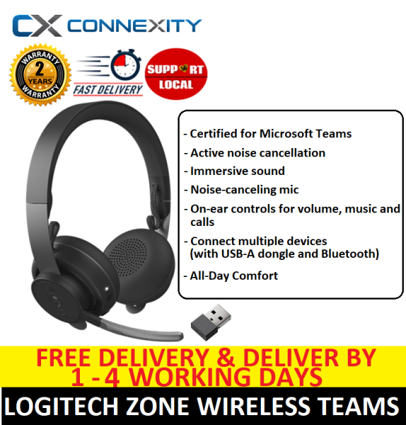 Logitech Zone Wireless Headset l Certified for Microsoft Teams l Noise Cancelling Headset with Microphone l Logitech Zone Wireless l Logitech Headset with Mic l Logitech Noise Cancelling Headset l Logitech Wireless Headset l 5012958 Singapore