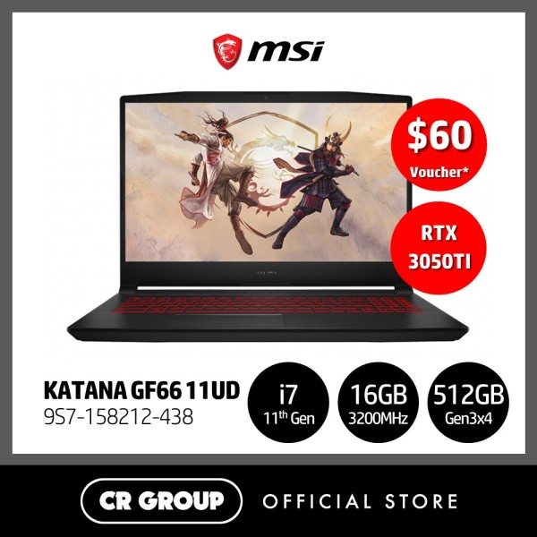 [Same Day Delivery] MSI i7 GF66 Series 144Hz Refresh Rate 15.6 Full HD Gaming Laptop GF66 11UD   11th Gen i7-11800H + HM570 Tiger Lake   16GB RAM   512GB SSD   NVIDIA Geforce RTX 3050Ti