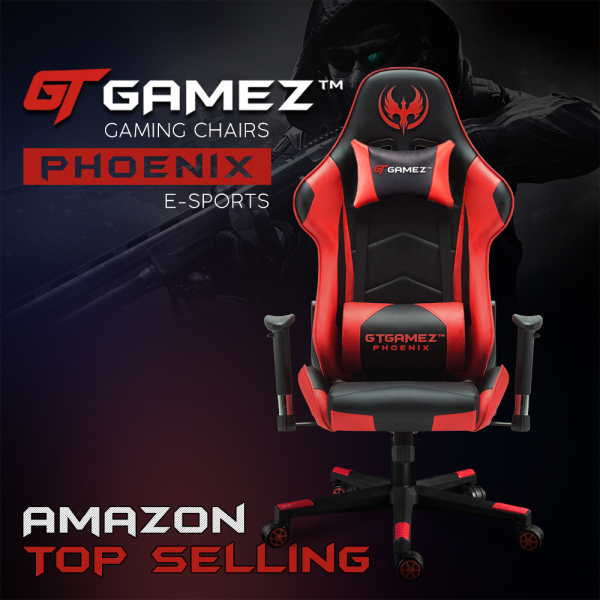 GTGAMEZ Gaming Chair GMZ-GC-YG-725 Racing Video Game Chair with Ergonomic Backrest and Seat Height Adjustment and Pillows Recliner Swivel Rocker Headrest and Lumbar Sports Chair