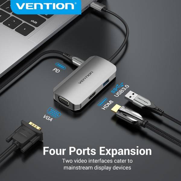 Vention Type c Hub 4K PD 100W USB C 9 in 1 Hub Type C to HDMI VGA Gigabit Ethernet Hub USB 3.0 Charger Thunderbolt 3 Type C Docking Station for Macbook iPad Pro 2020 SAMSUNG S20+ Huawei P40 Mate40 USB C Adapter