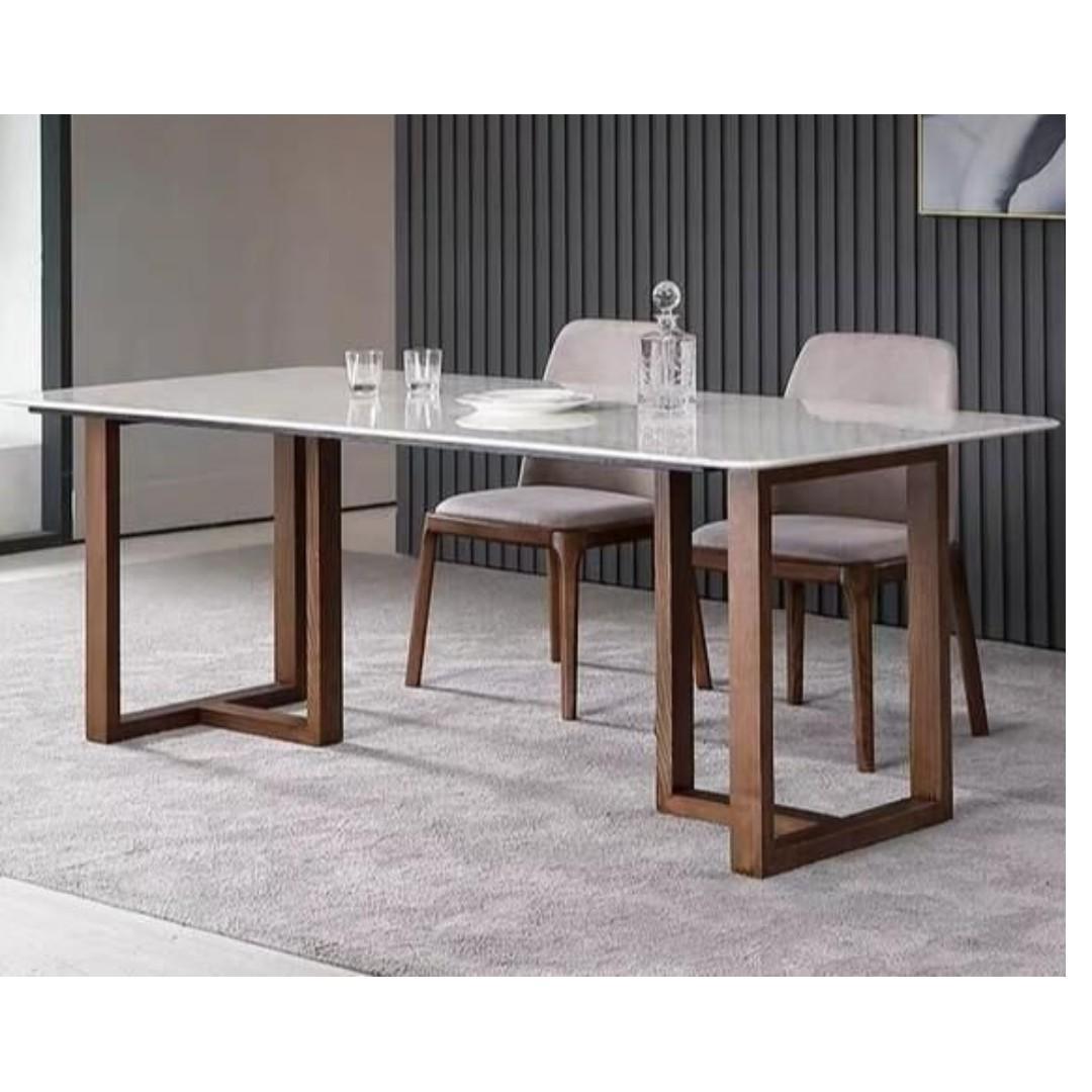 TMDT 23 Marble Table w Solid Wood Leg