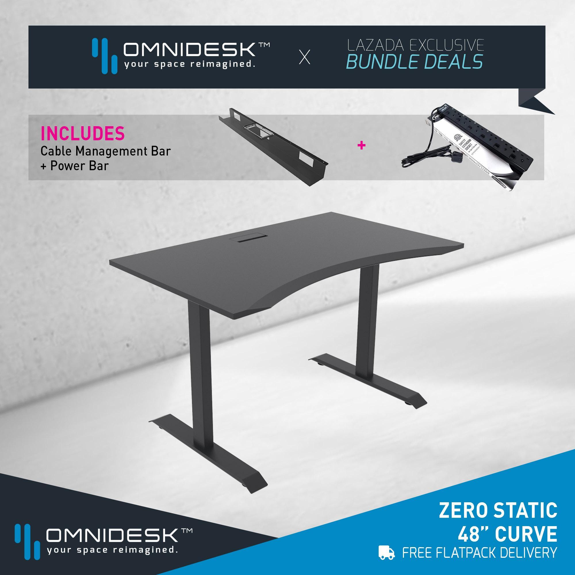OMNIDESK ZERO Gaming Desk (Fixed Height) - Black 48  Curve Edge + Omnidesk Black Zero Fixed Height Frame
