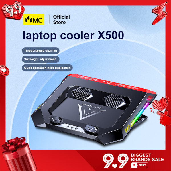 MC-X500 LED RGB Gaming Laptop Cooler Fan Two USB Port Portable Adjustable Laptop Pad Notebook Stand for 12-18 inch