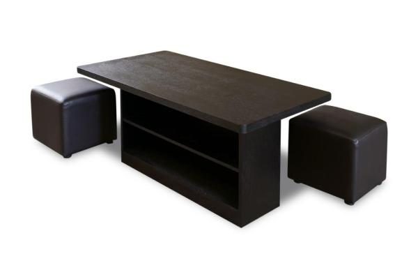 Cara Wooden Coffee Table with Stools