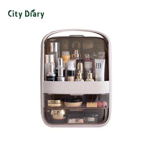 Buy New dustproof Cosmetics makeup organizer box transparent drawer filp handle carry box Singapore