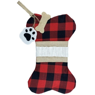 Big Buffalo Plaid Stocking Cotton and Burlap Bone Christmas Gift Bags thumbnail