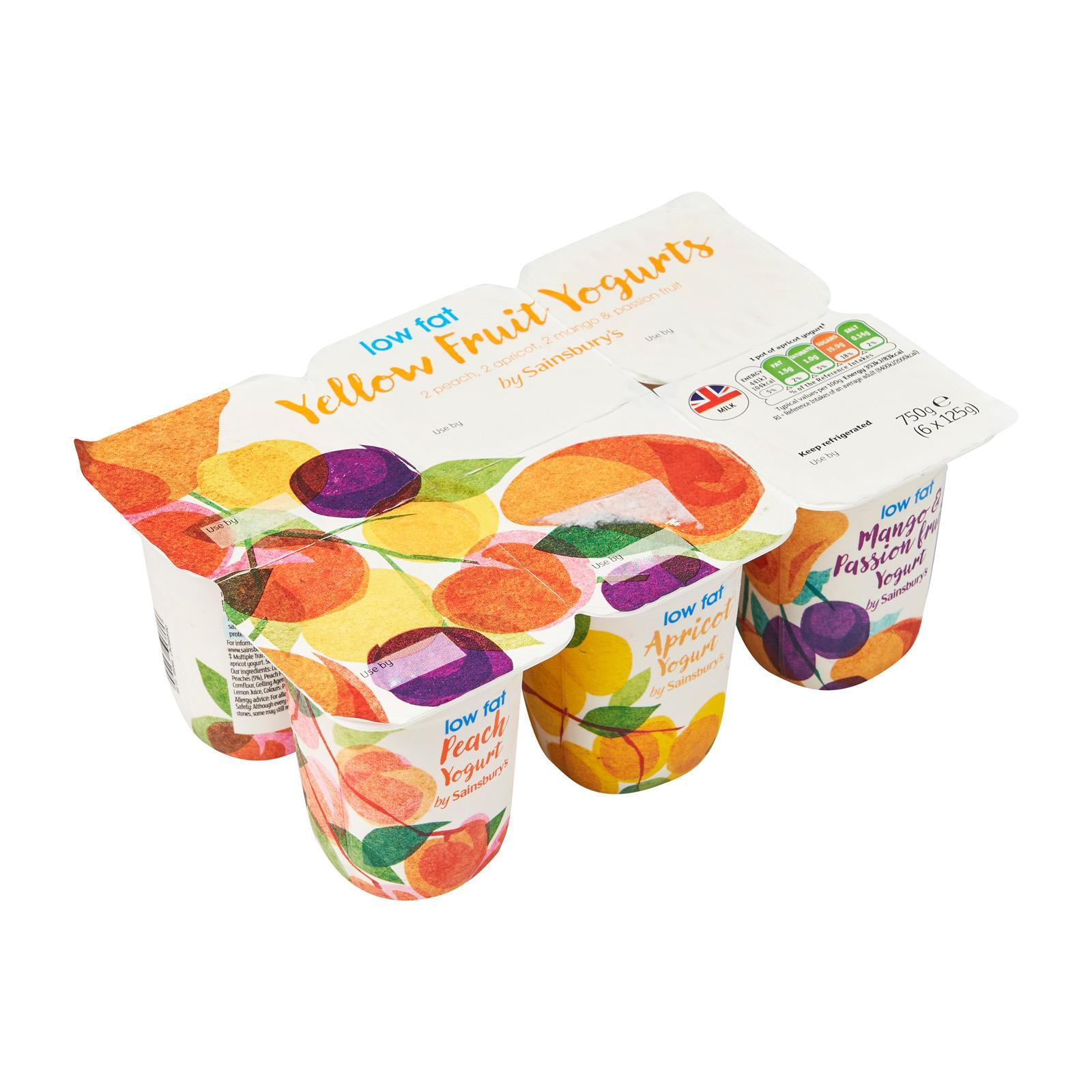 Sainsbury's Low Fat Yellow Fruits Yoghurt 6S