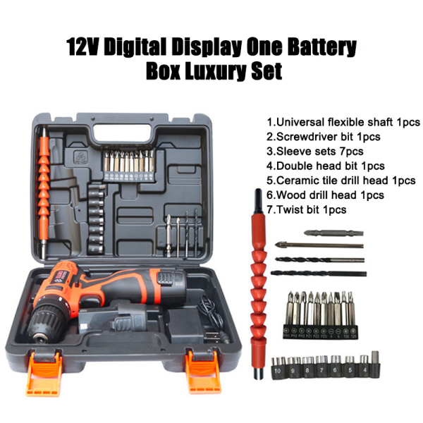 12V 25V 36VF(21V) 48VF(21V) Multi-function Electric Cordless Portable LED Light Drill Screwdriver Bit Set Kit Double Speeds Positive/Reverse Rotation 1-25 Torques with Lithium Battery Quick Charger Free Accessories Lightweight