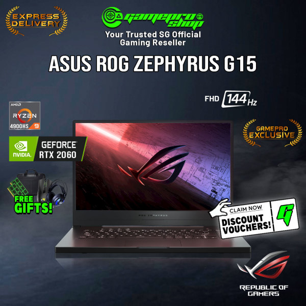 [Express Delivery][EXCLUSIVE] ASUS ROG Zephyrus G15 Gaming Laptop (Ryzen 9 4900HS/8GB/512GB SSD/RTX 2060 w ROG Boost/15.6 144hz/W10)- GA502IV-HN085T (2Y)