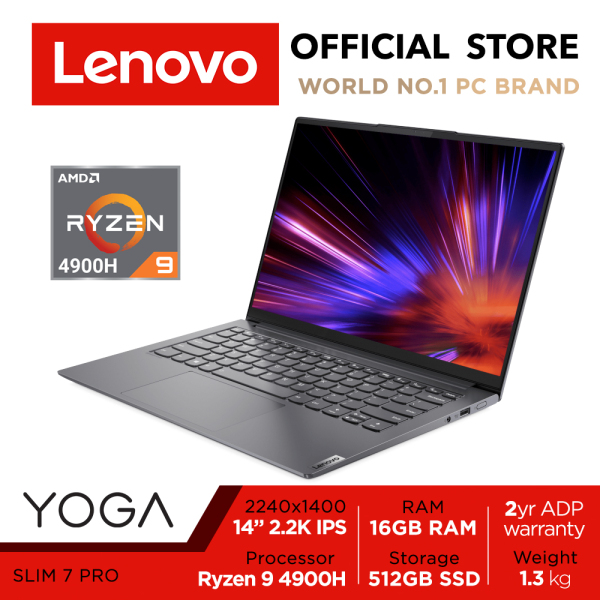 2021 Lenovo Yoga Slim 7 Pro |82LA0026SB | The Most Powerful AMD Ryzen 9 4900H | 14inch 2.2K (2240x1400) Dolby Vision | 16GB RAM | 512GB SSD | TÜV Low Blue Light | Win10 Home | 2Years Premium Care+ADP