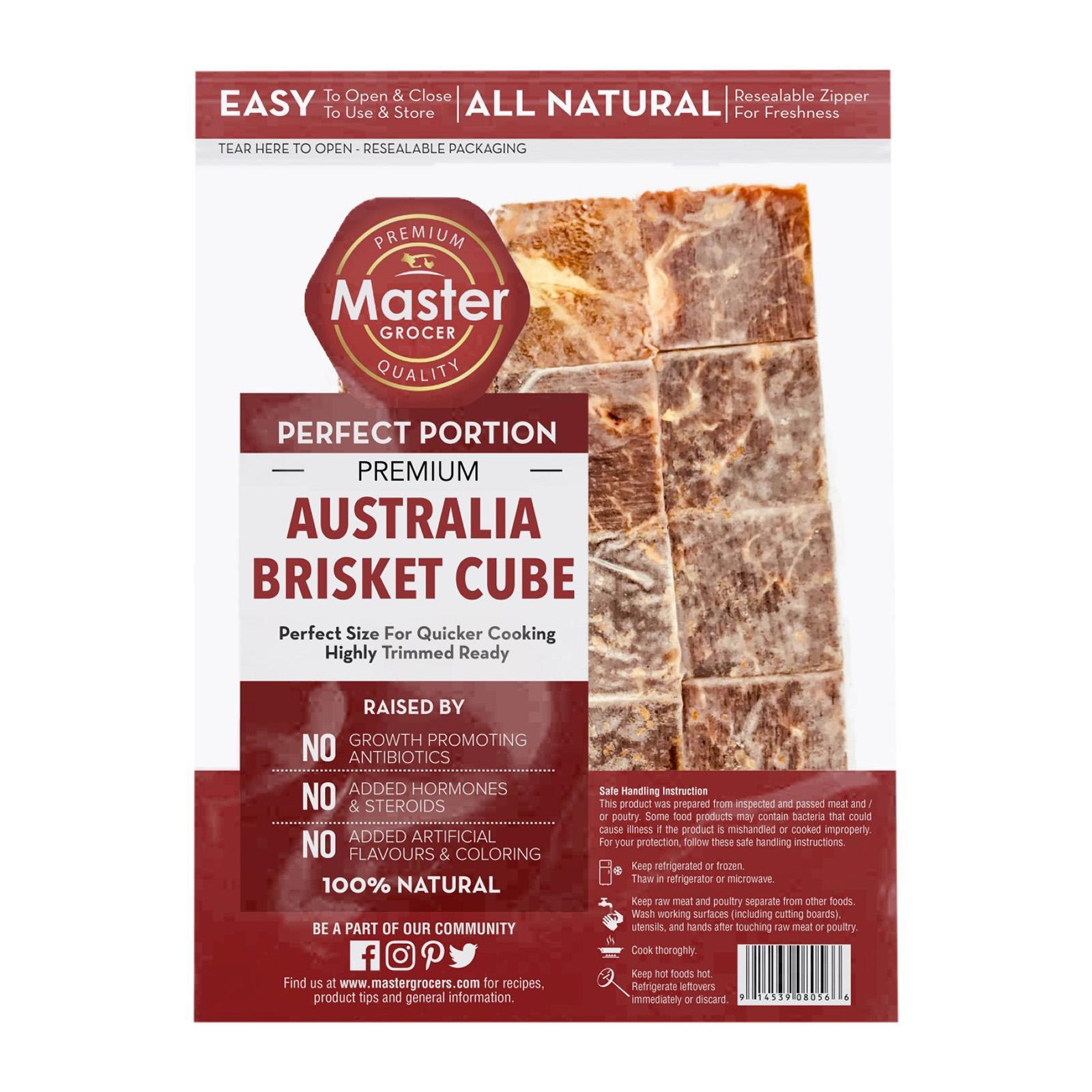 Master Grocer Australia Beef Brisket Cube Grassfed - Frozen