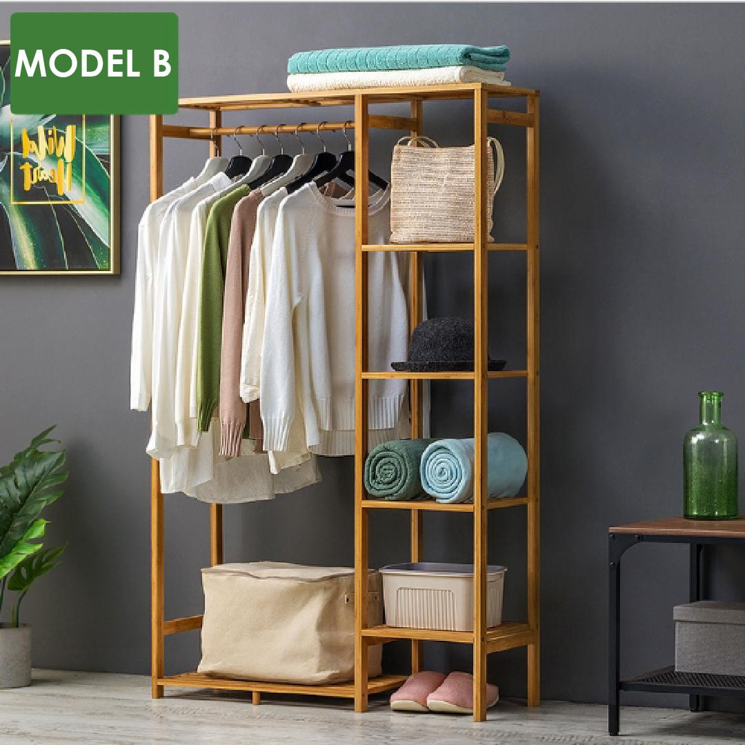JIJI (Open Concept Solid Wood wardrobe) (Self-Assembly) - Solid Wood Furniture / Wardrobe / Storage Rack / Hanging Rack (SG)