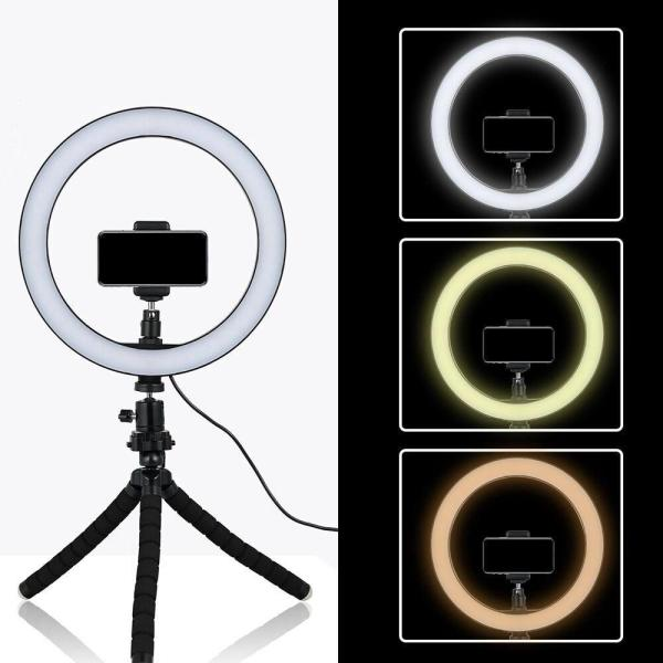 26cm Selfie LED Ring Light With Mini Tripod Stand Smartphone Photography Makeup