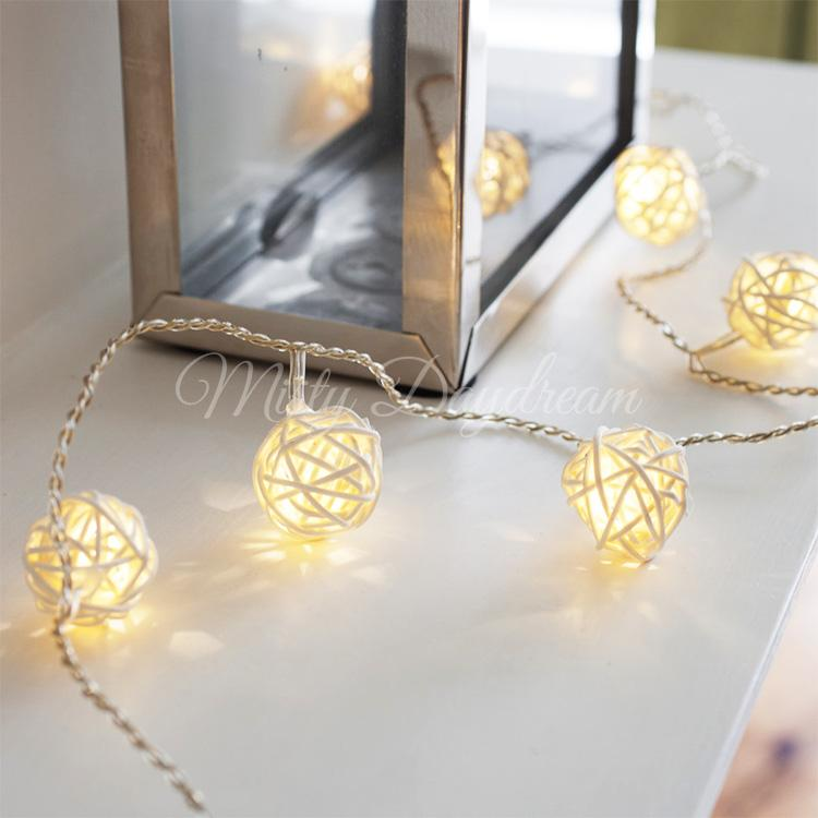 Rattan Ball Fairy Light – Warm White(Battery Operated)