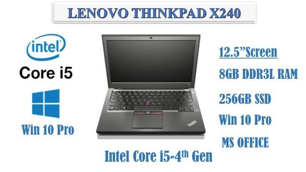 Lenovo ThinkPad X240 i5-4th Gen 8GB RAM 256GB New SSD Windows 10 Pro MS office (Refurbished)