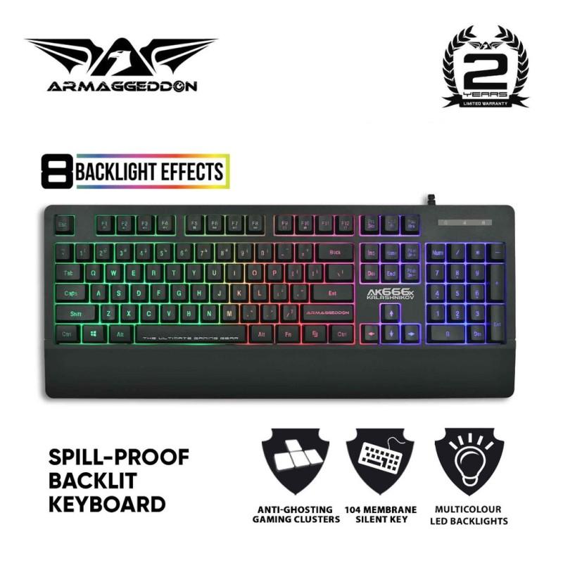 Armaggeddon Kalashnikov AK666x Anti-Ghosting And Spill Proof Backlit Keyboard - 8 Lighting Effect Singapore