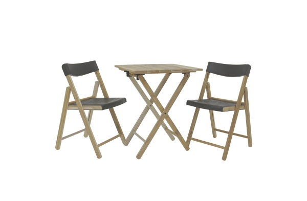Tramontina Table +2 Chairs Outdoor, Foldable, Natural Wood and Graphite Plastic