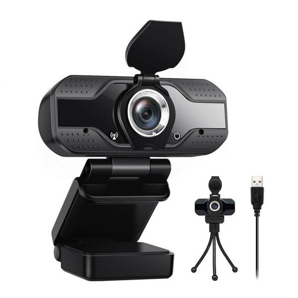 [SG Seller]Webcam HD 1080p-Streaming Webcam with Privacy Cover for Desktop Computer PC,110° Wide-Angle View with Stereo Microphone, USB Webcam Plug and Play,Low-Light Correction and Fixed Focus Computer Camera