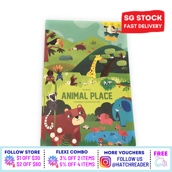 [SG Stock] Reusable Sticker Play Book - Animal House Activity Book Toy Educational 200 stickers - Double Side Large Spread for childrenkids baby toddler 3 4 5 6 years old -