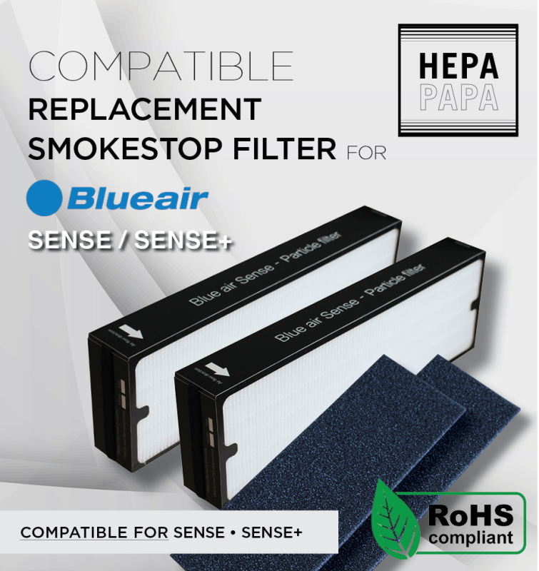 Blueair Sense Sense+ (Pack of 2 Particle Filters and Activated Carbon Pre-Filter Sheets) Compatible Replacement Filters [HEPAPAPA] Singapore