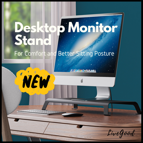 Ergonomic Desktop Monitor Stand (Aluminium Alloy) - Compatible with Monitors of 18.5 to 27 Inch