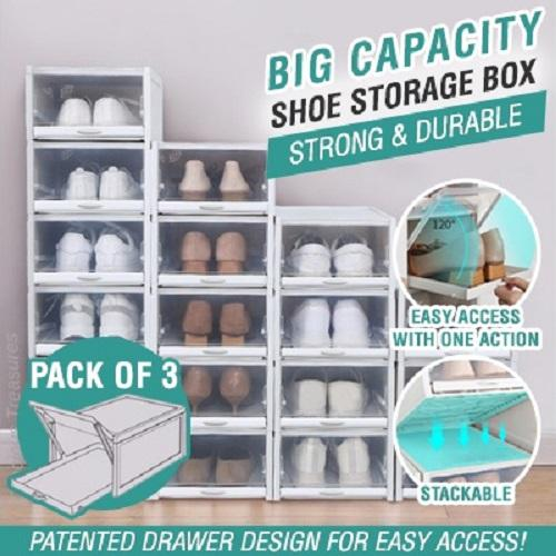 [Pack of 3] Shoes Storage Organizer Box Patented Drawer Design Allows Easy Access with one hand