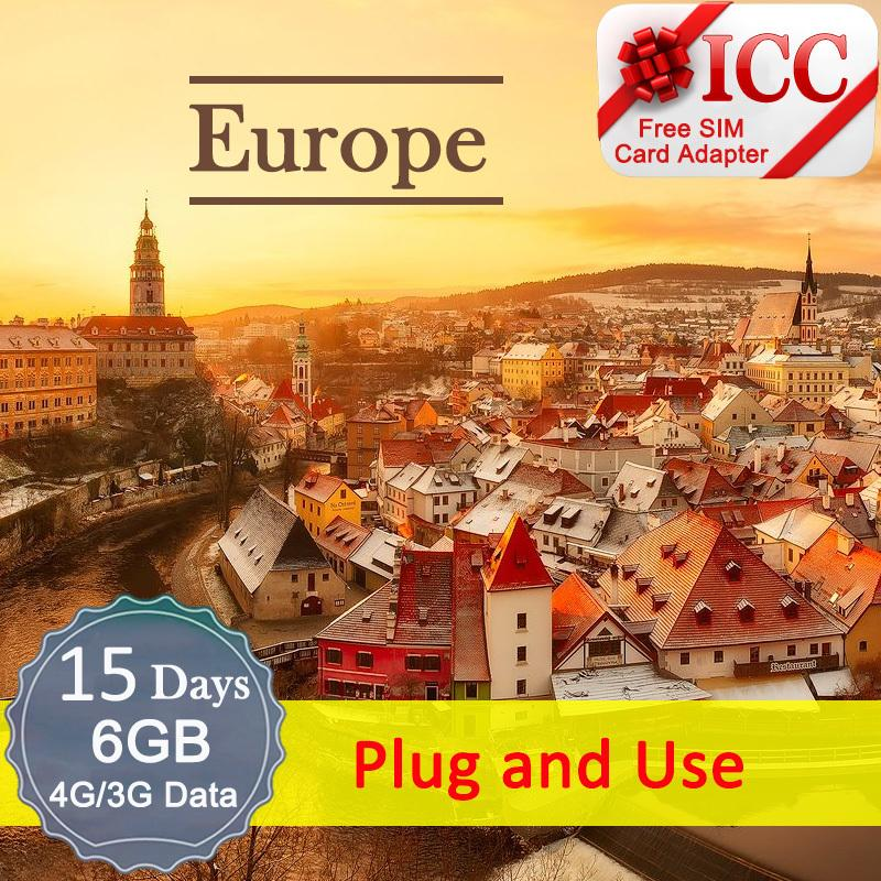 Icc【europe Sim Card · 15 Days】6gb 4g/3gdata Only(include Russia/balkans*)plug And Use By Icc