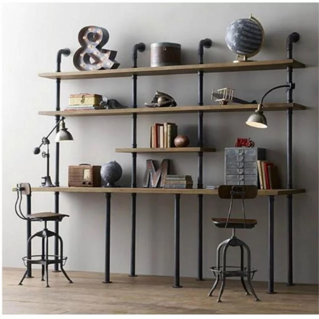Pre order E102 Industrial Solid Wood Display shelves(  L200*W40*H200cm)