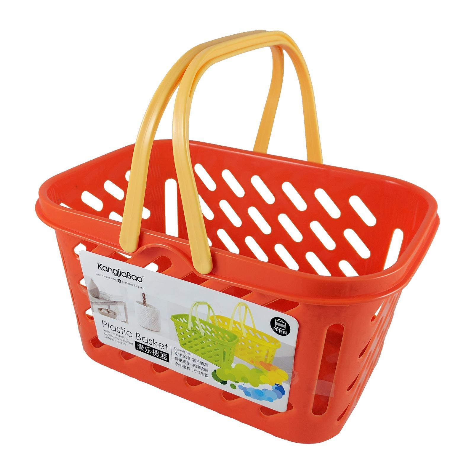 KangjiaBao Small Plastic Multipurpose Basket With Handles 25x17.5x13 Cm (Orange)