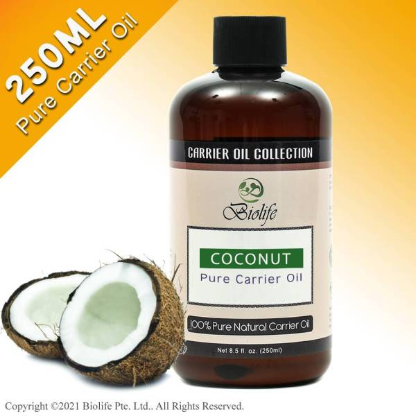 Buy Biolife Coconut Carrier Oil (250ml), For Aromatherapy Relaxing Massage, Carrier Oil for Diluting Essential Oils, Hair & Skin Care Benefits, Moisturizer & Softener Singapore