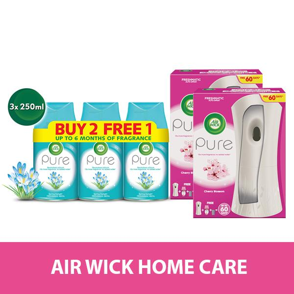 Air Wick Home Care Bundle - Spring Delight Refill 250ML Triple Pack FREE Cherry Blossom Starter