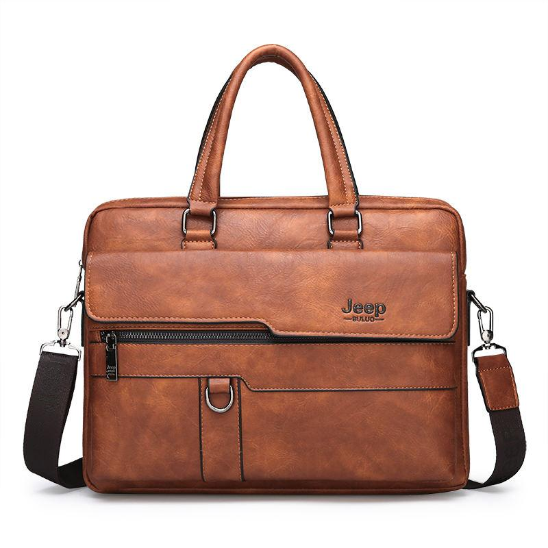 JEEP BULUO Men Briefcase Bag High Quality Business Famous Brand Leather Shoulder Laptop Bag 13.3 inch