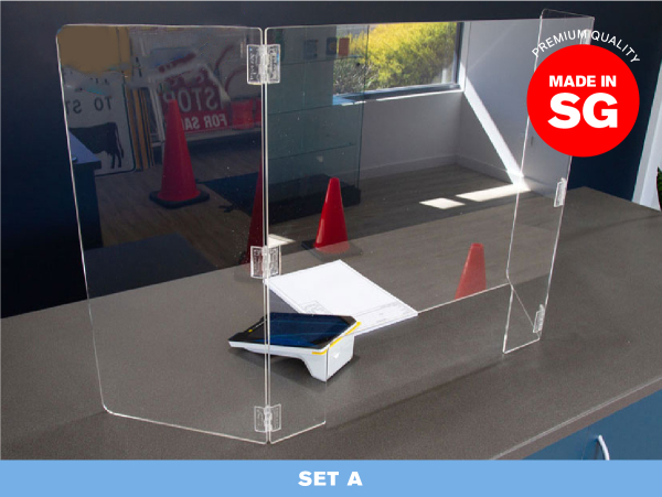 [SG READY STOCK] SET A — Acrylic Shield Table Dividers / Portable Transparent Protective Sneeze Guard / Clear Acrylic Plexiglass Partition for Counters & Desks