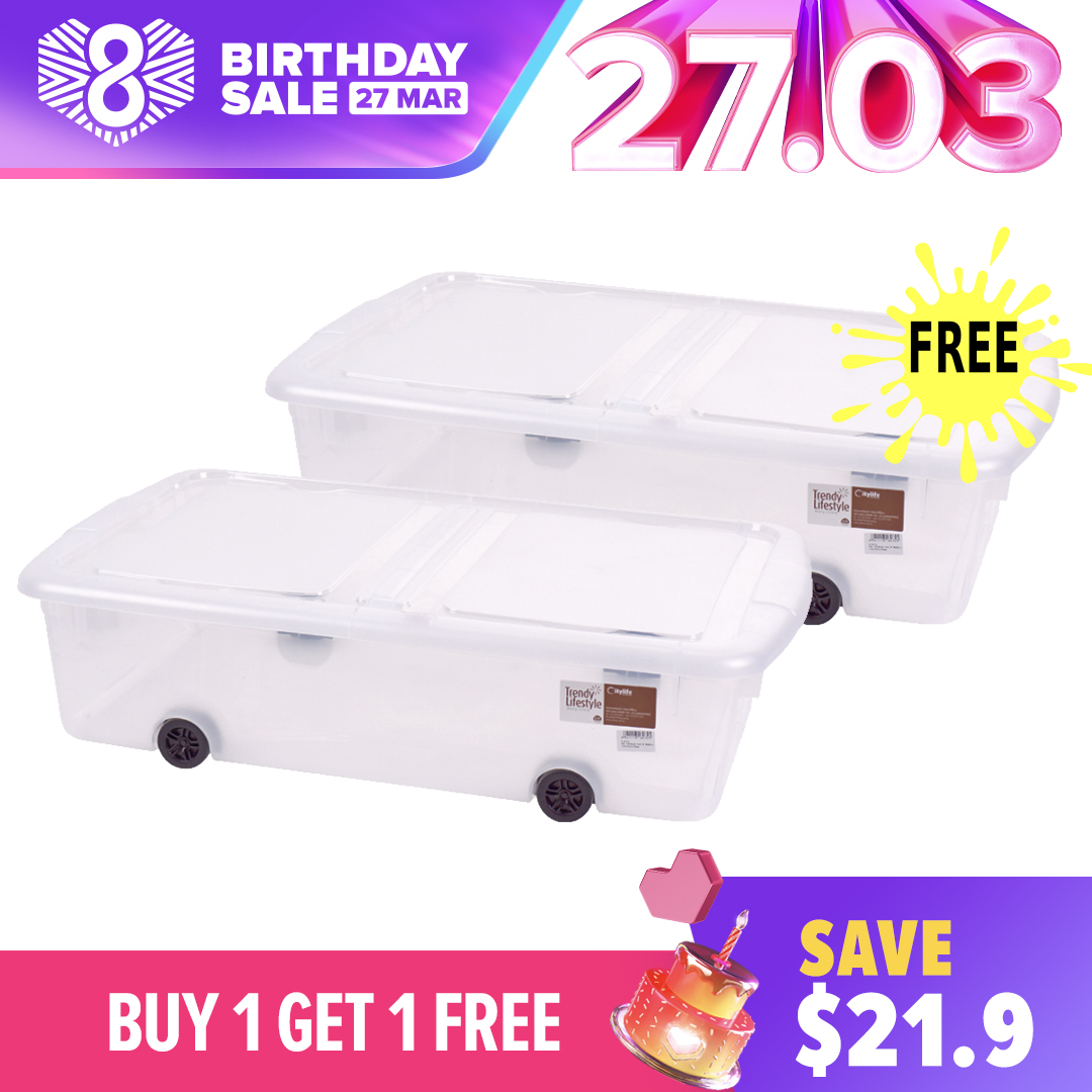 [Buy 1 Get 1 Free] - Citylife - Underbed Storage With Wheels 44L