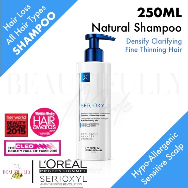 Buy LOreal Professional Serioxyl Hypoallergenic Natural Clarifying Densifying Shampoo 250ml - Anti Hairloss Hair Loss Fall Anti Dandruff Volumizing Rebalancing Purifying Sensitive Daily Gentle Scalp Cleanser (L'Oréal LOreal) Singapore
