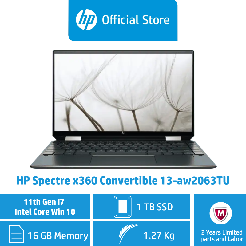 HP Spectre x360 Convertible 13-aw2063TU / Intel® Core™ i7-1165G7 / 16GB RAM / 1TB SSD / 11th Gen / Convertible / Touchscreen / Light / Long Battery Life / ADP Coverage