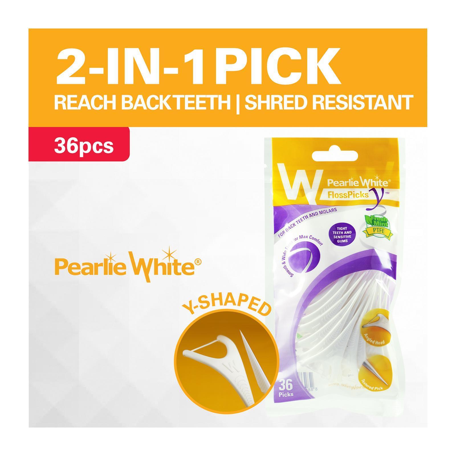 Pearlie White Floss Pick Y 2-IN-1 PTFE MINT Back Teeth Flosser