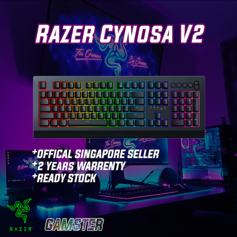 Razer Cynosa V2 Durable Spill-Resistant Gaming Keyboard (Quiet, cushioned keystrokes) | FREE DELIVERY | Essential RGB Gaming Keyboard Singapore
