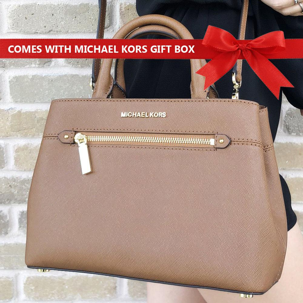 bbc69c859b81a Michael Kors Crossbody Bag Hailee Xs Saffiano Leather Satchel Handbag  Luggage Brown   35S8GX2S1L + Gift