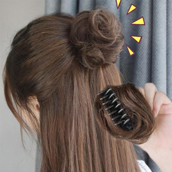 Phụ Nữ Nâu Clip In/On Tổng Hợp Donut Xoăn Scrunchies Claw Tóc Bun Ngắn Xoăn Chignon Lộn Xộn Bun Ponytails Hairpiece
