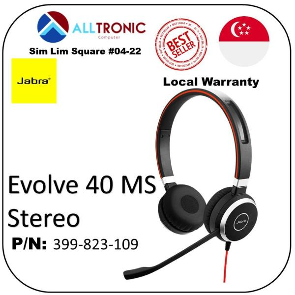 Jabra Evolve 40 MS Stereo ( USB-A / Microsoft Skype for Business) P/N : 6399-823-109 / 2Yrs Warranty