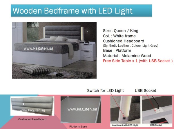 Wooden Bedframe with LED Light & Free Side Table x1 with USB Socket, Cushioned Headboard, Free Delivery & Installation
