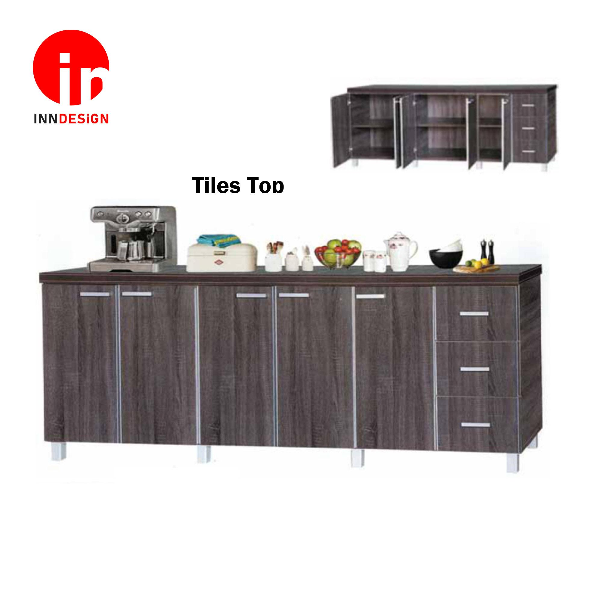 Cassiva 5 Doors With 3 Drawers Kitchen Cabinet (Ceramic Tiles Top)  (Free Delivery and Installation) (Dark Oak)