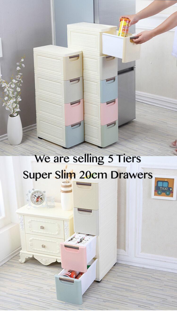 20cm Super Slim 5 tiers storage cabinet drawers