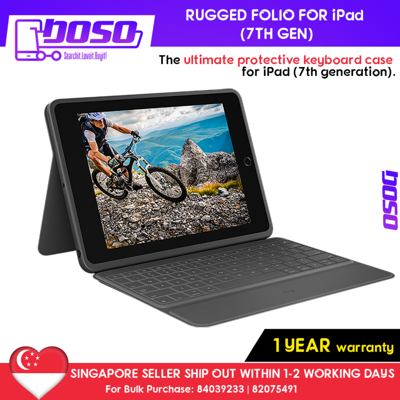 [Ready Stock] Logitech Rugged Folio Case with Integrated Keyboard & Smart Connector For Ipad 10.2 Inch Black (7th Generation, 2019) Comes With Apple Pencil Holder (Pencil Nor Provided) Singapore