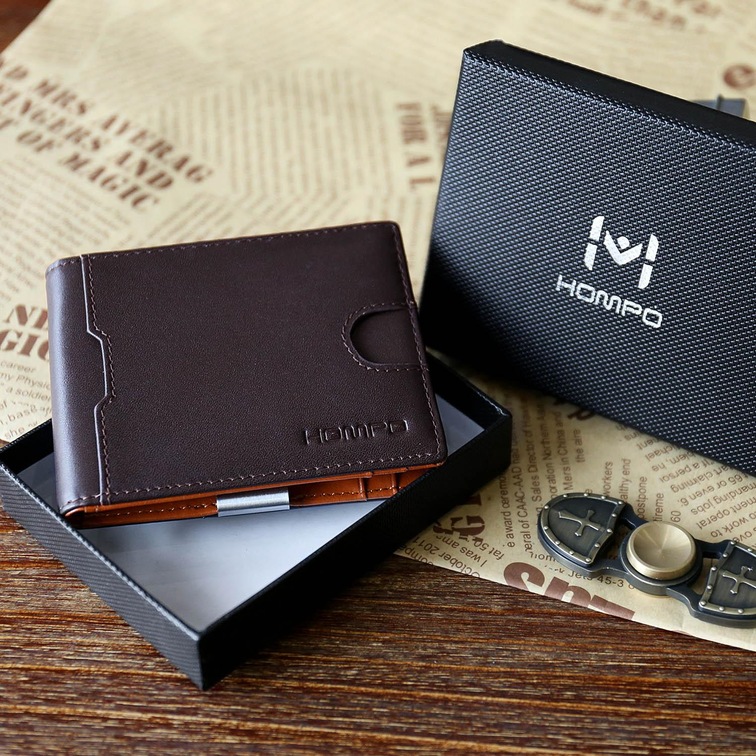 Mens Wallet Genuine Leather Short Wallet With Coin Pocket Card Holder Purse