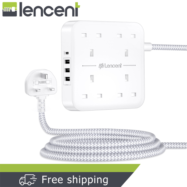 LENCENT Extension Lead with USB C Port 4 Way Outlets Power Strip with 4 USB Ports (3.4A, 1 Type C and 3 USB-A Ports) Multi Plug Charging Station with 1.8M Braided Extension cord for Home Office 3250W