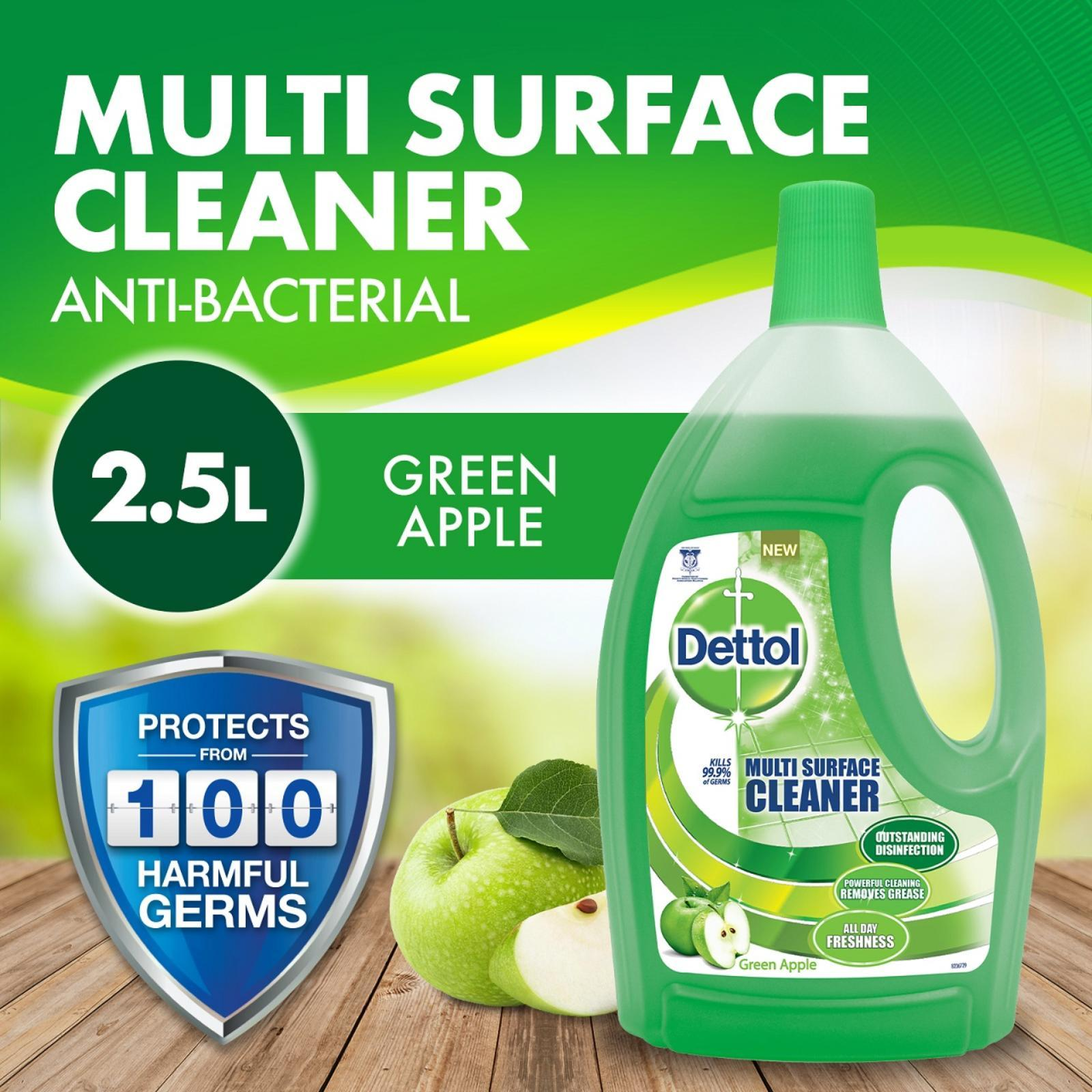 Dettol 4-in-1 Disinfectant Multi Surface Cleaner Green Apple 2.5L