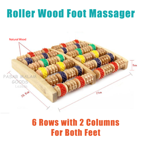 Buy Delivered 3-5 Days Wooden Foot Massager With Roller Wheels Relax Stress Relief Wood Singapore